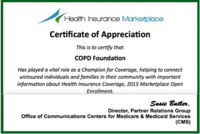 COPD Foundation Awarded Certificate of Appreciation by Centers of Medicare and Medicaid Services (CMS)
