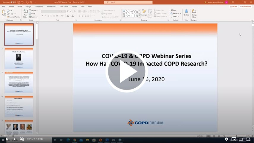 COVID-19 Updates: Impact of COVID on COPD Research (RECORDED 6-17-2020)
