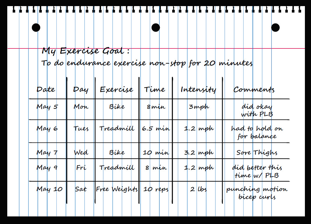 Sample of a simple exercise log